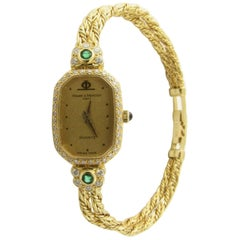 Baume & Mercier 18 Karat Yellow Gold Emerald Diamond Ladies Watch Quartz