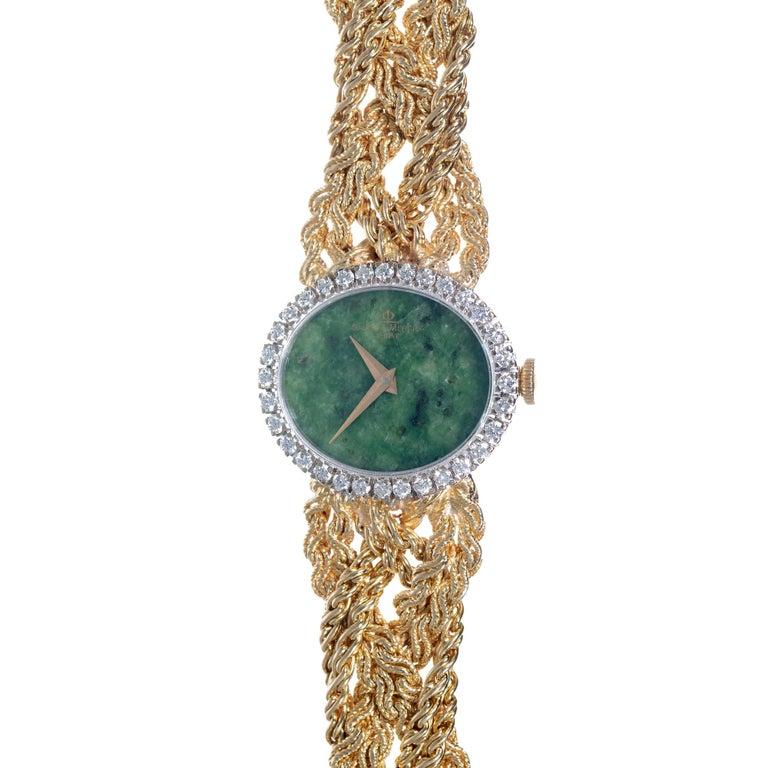 Round Cut Baume & Mercier .75 Carat Diamond Jade Yellow Gold Ladies Wristwatch For Sale
