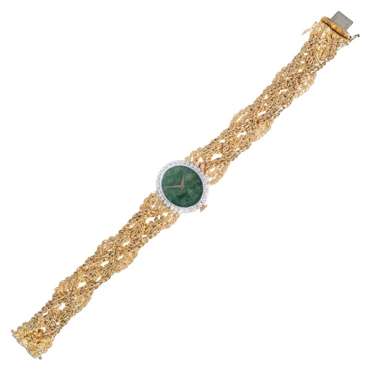 Baume & Mercier .75 Carat Diamond Jade Yellow Gold Ladies Wristwatch In Good Condition For Sale In Stamford, CT