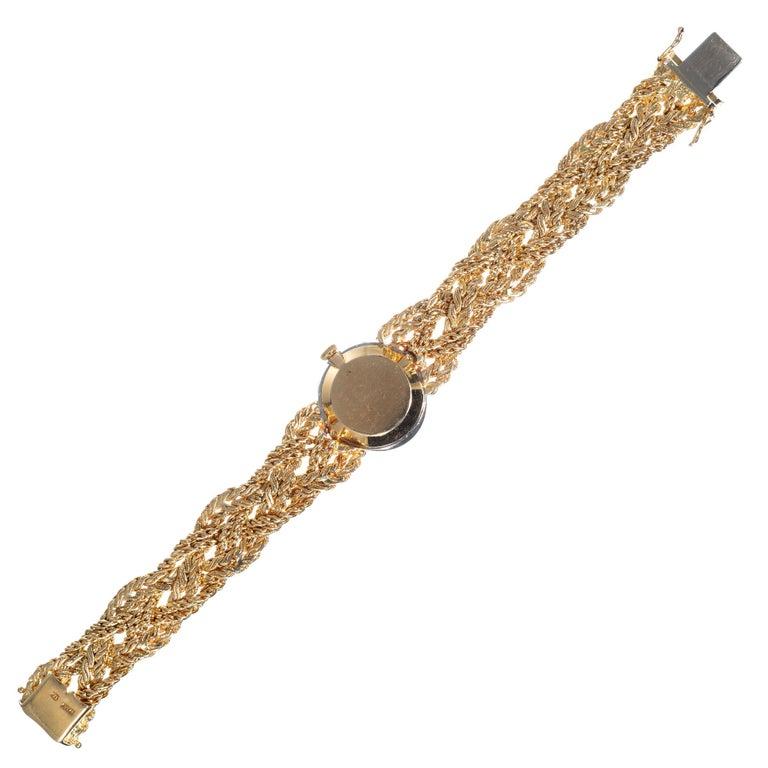 Women's Baume & Mercier .75 Carat Diamond Jade Yellow Gold Ladies Wristwatch For Sale