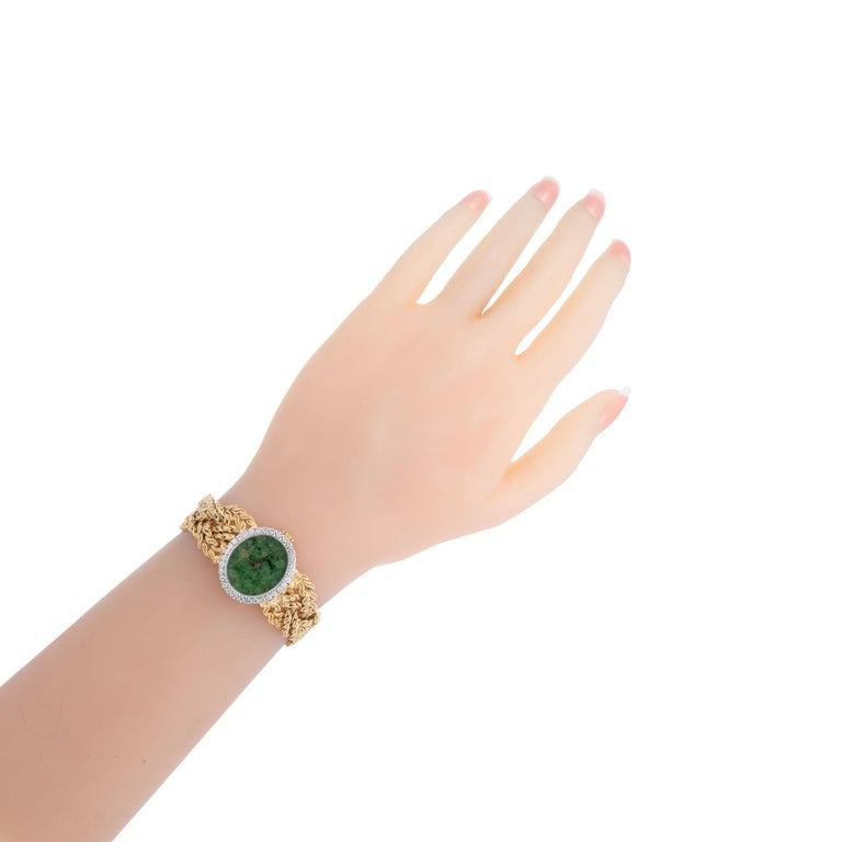 Baume & Mercier .75 Carat Diamond Jade Yellow Gold Ladies Wristwatch For Sale 3