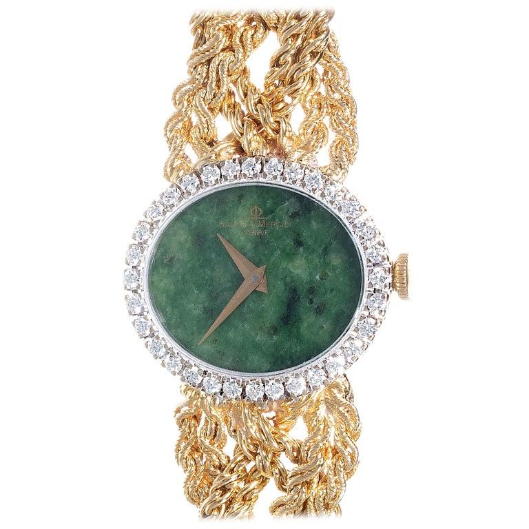 Baume & Mercier .75 Carat Diamond Jade Yellow Gold Ladies Wristwatch For Sale