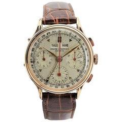 Baume & Mercier by Wakmann Rose Gold Triple Date Chronograph Watch