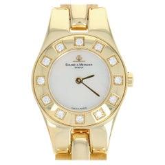 Baume & Mercier Geneve Watch Diamonds 18k Gold Mother Pearl New Battery Warranty