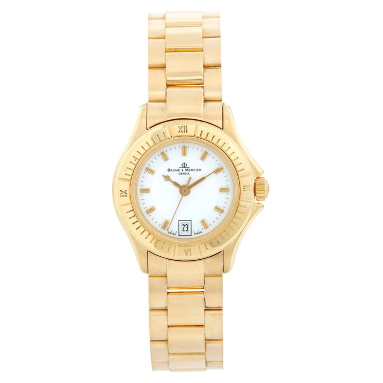 Baume & Mercier Ladies 18K Yellow Gold Riviera Watch MV045109 For Sale