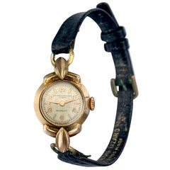 Baume & Mercier Ladies Gold Lizard Strap Hand Manual Watch