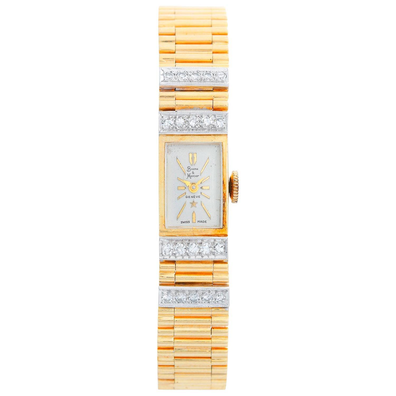 Baume & Mercier Ladies Yellow Gold Diamond Manual Winding Wristwatch