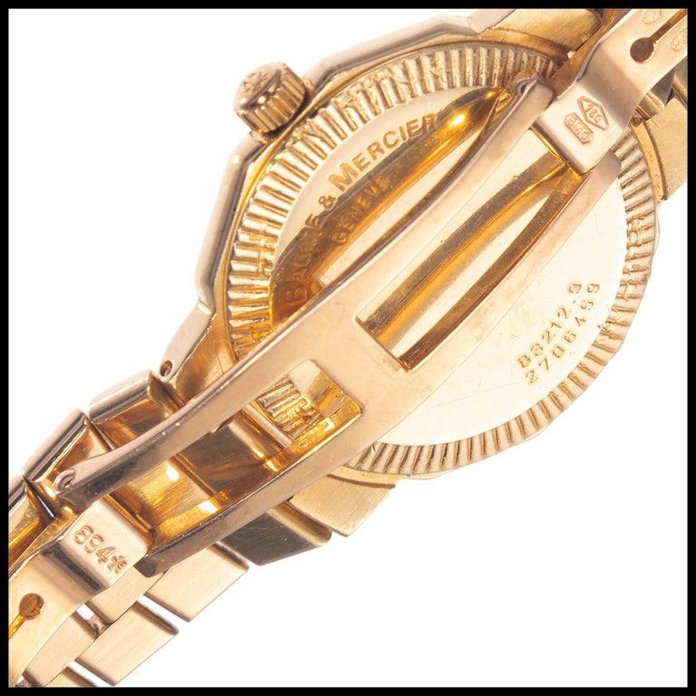 Women's Baume & Mercier Ladies Yellow Gold Riviera Quartz Wristwatch For Sale