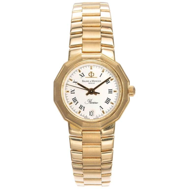 Baume & Mercier Ladies Yellow Gold Riviera Quartz Wristwatch For Sale