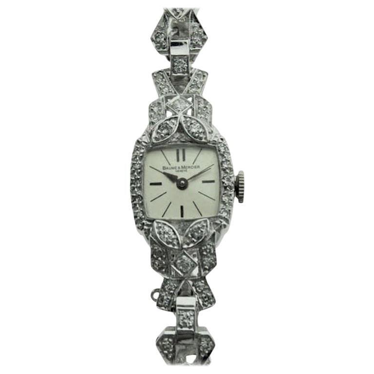 Baume & Mercier Platinum Art Deco Ladies Watch with Diamond Bracelet, circa 1940
