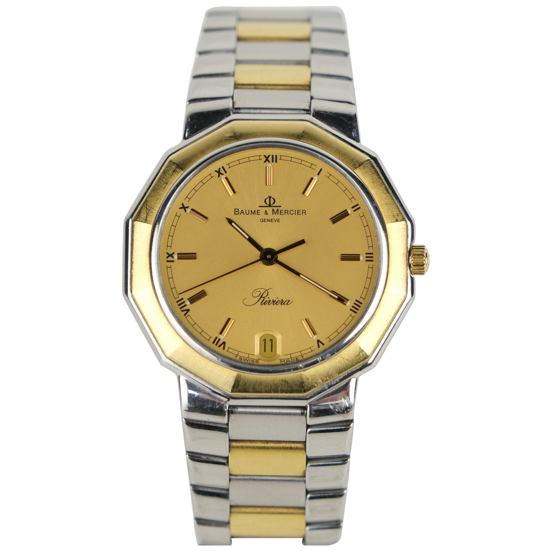 Baume & Mercier Riviera 18 Karat Gold and Stainless Steel Quartz Wristwatch