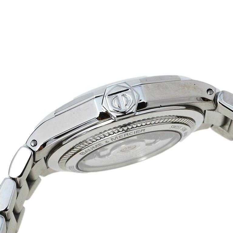Contemporary Baume & Mercier Silver Stainless Steel Riviera M0A08782 Women's Wristwatch 28 mm