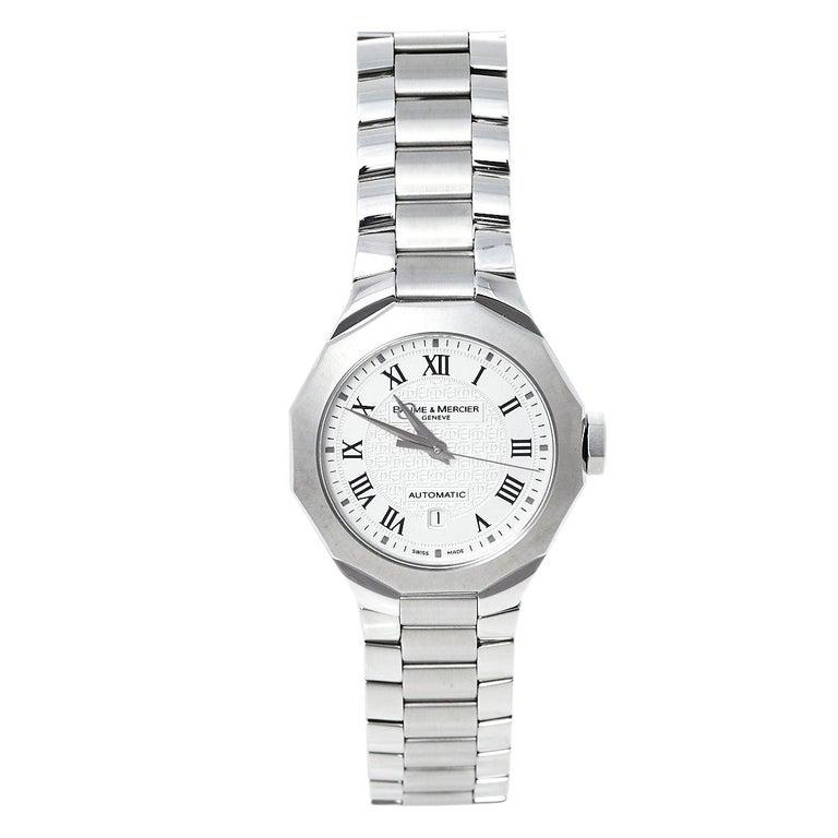 Baume & Mercier Silver Stainless Steel Riviera M0A08782 Women's Wristwatch 28 mm