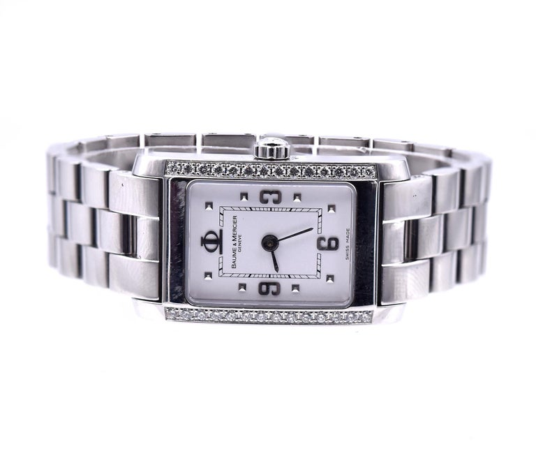 Baume & Mercier Stainless Steel Diamond Hampton In Excellent Condition For Sale In Scottsdale, AZ