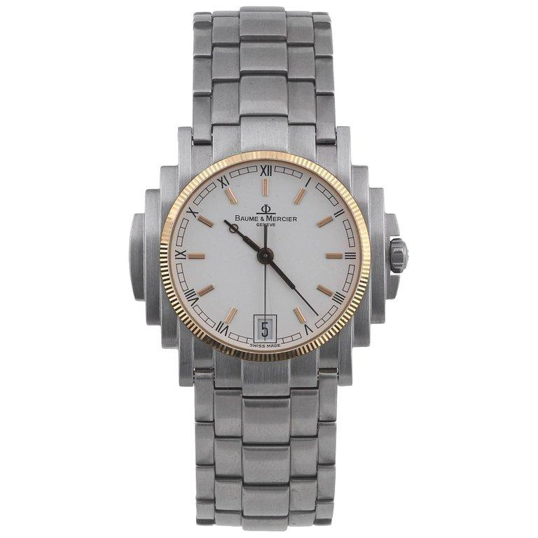 Women's or Men's Baume & Mercier Stainless Steel Gold Bezel Capeland Quartz Wristwatch   For Sale
