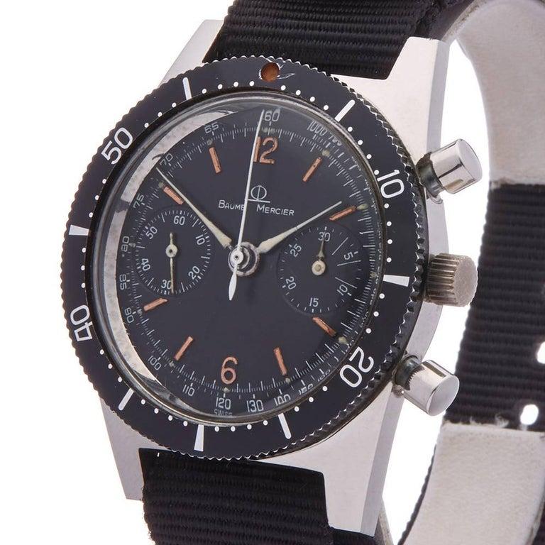 Baume & Mercier Stainless Steel Vintage Chronograph Mechanical Wind Wristwatch In Excellent Condition In Bishop's Stortford, Hertfordshire