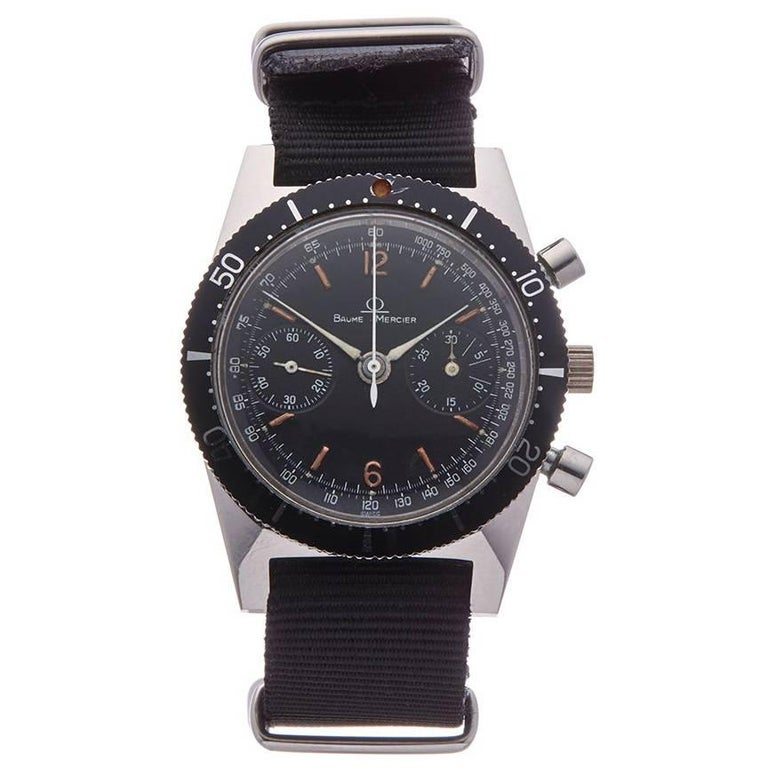 Baume & Mercier Stainless Steel Vintage Chronograph Mechanical Wind Wristwatch