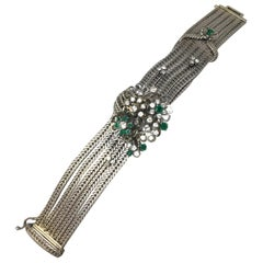 Baume & Mercier Vintage Emerald and Diamond Bracelet Watch