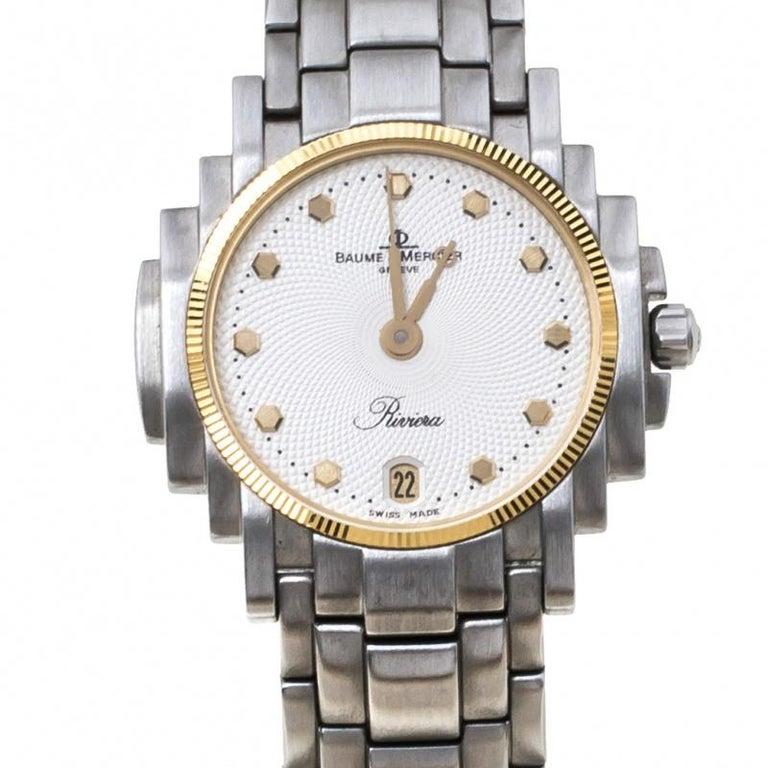 Contemporary Baume & Mercier White Two-Tone Riviera 5236.018.3 Women's Wristwatch 26 mm
