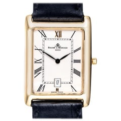Baume & Mercier Yellow Gold Quartz Tank Style Men's Wristwatch