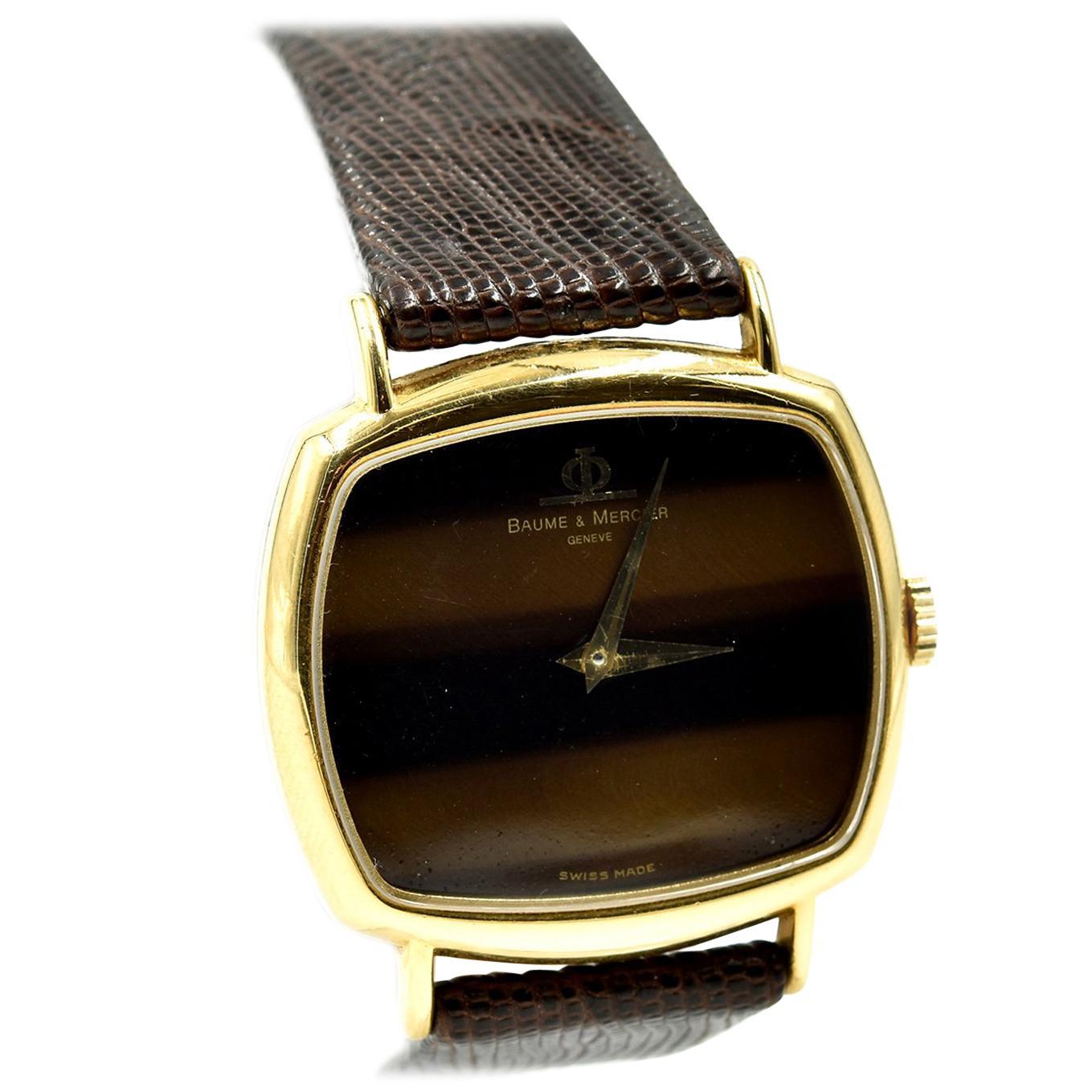Baume & Mercier Yellow Gold Tiger Eye Dial Vintage manual wind Wristwatch