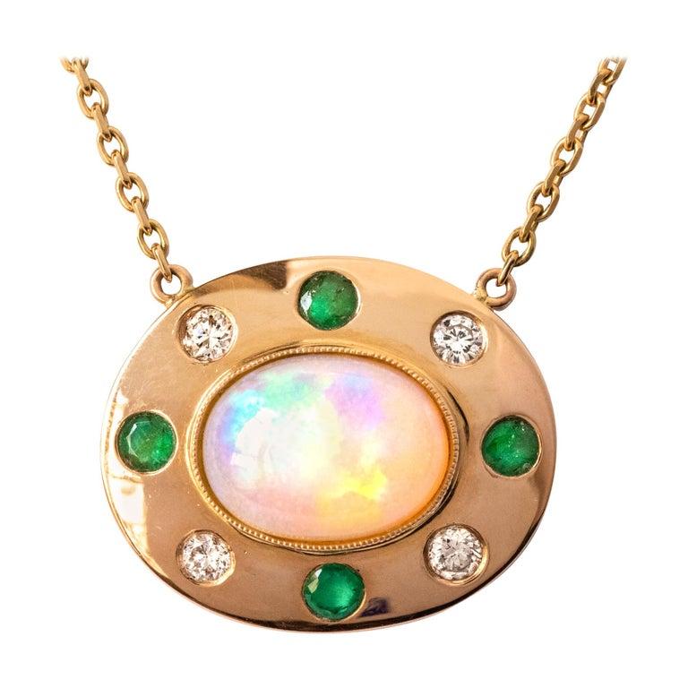 Baume Opal Emerald Diamond 18 Karat Yellow Gold Necklace For Sale