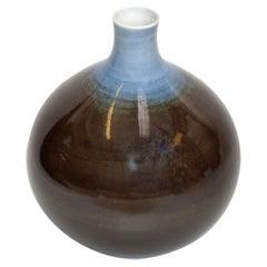 Bavaria Arzberg Hutschenreuther Glazed Porcelain Vase Black, Blue & White, 1970s