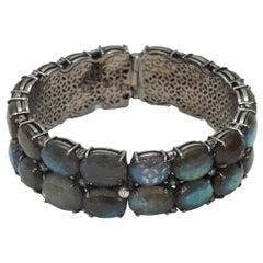 Bavna Blue & Silver Tourmaline & Labradorite Bangle Bracelet
