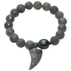 Bavna Grey Agate & Diamond Stretch Bracelet