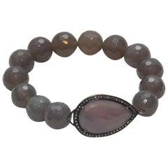 Bavna Mauve Agate & Diamond Stretch Bracelet
