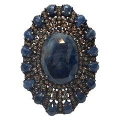 Bavna Sapphire, Silver & Diamond Cocktail Ring