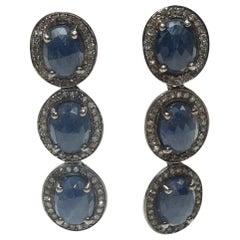 Bavna Sapphire, Sterling Silver & Champagne Diamond Earrings