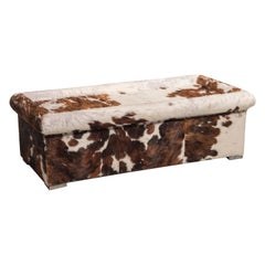 Baxter Brown and White Cow Fur Leather Ottoman or Coffee Table, Italy, 1990s