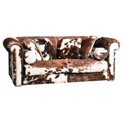 Baxter Brown and White Cow Fur Leather Sofa Pillows and Ottoman, Italy, 1990s
