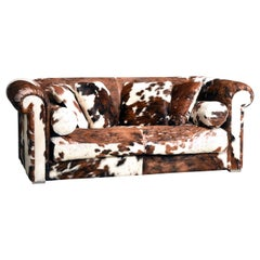 Baxter Brown and White Cow Fur Leather Sofa with Pillows, Italy, 1990s