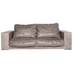 Baxter Budapest Designer Leather Sofa Gray Three-Seat Couch