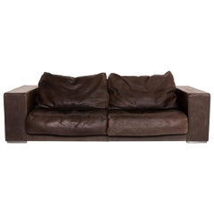 Baxter Budapest Leather Sofa Brown Two-Seat Couch 14016