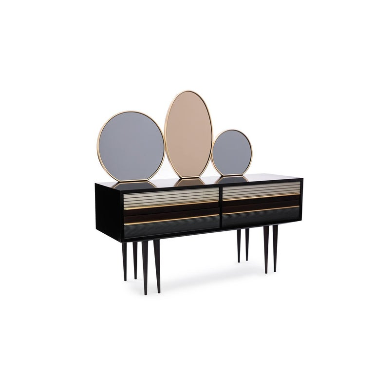 Baxter dark stained and natural-oil finished rosewood buffet no.2 featuring Avio and rose tinted lunar mirrors, accented by Satin Brass hardware, circa 1950, Italy by Draga & Aurel  Salone 2016 Italian inspired 1950s made In Italy.