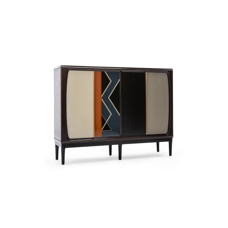 Baxter cabinet no.3, Danish inspired dark stained rosewood with tenne orange and nile blue resin geometry by Draga & Aurel  Milan fair2016 R635715 170 x 43 x H 130 CM Salone 2016 Danish inspired 1960s made in Italy.