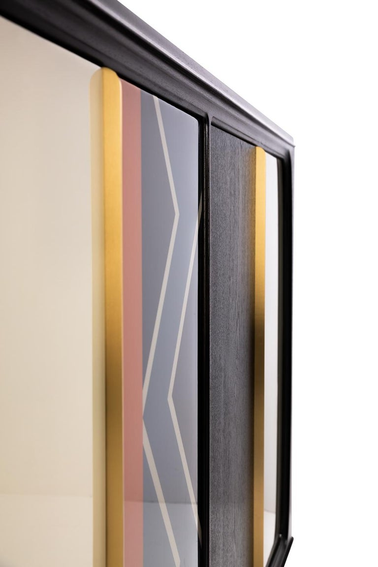 Modern Baxter Cabinet No. 3 in Rosewood with Orange and Blue Detail by Draga & Aurel For Sale