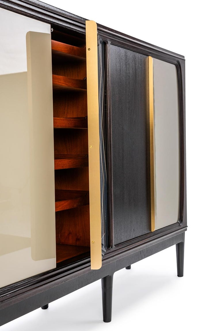 Italian Baxter Cabinet No. 3 in Rosewood with Orange and Blue Detail by Draga & Aurel For Sale