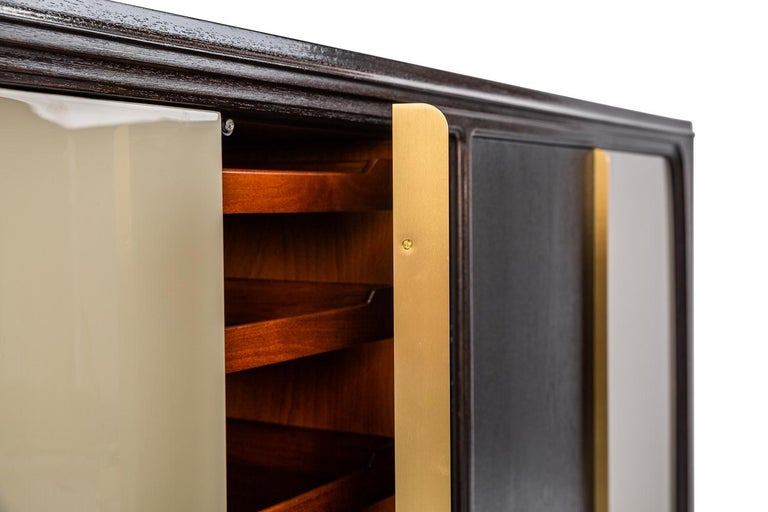 Hand-Crafted Baxter Cabinet No. 3 in Rosewood with Orange and Blue Detail by Draga & Aurel For Sale