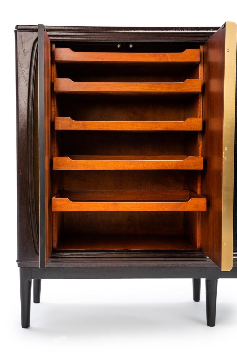 Contemporary Baxter Cabinet No. 3 in Rosewood with Orange and Blue Detail by Draga & Aurel For Sale