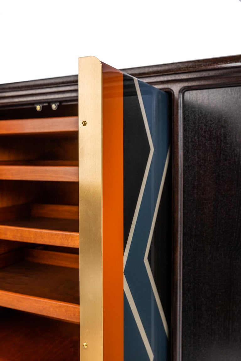 Baxter Cabinet No. 3 in Rosewood with Orange and Blue Detail by Draga & Aurel For Sale 1