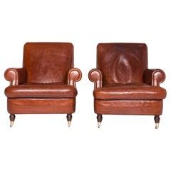 Baxter Charlotte Designer Leather Armchair Set Brown