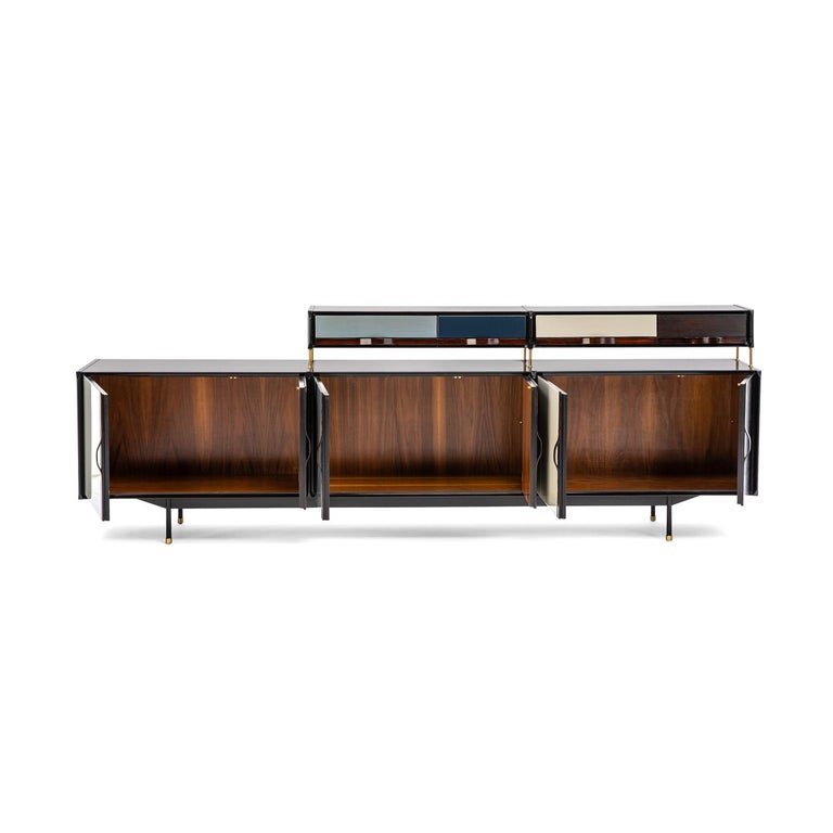 Baxter Danished inspired sideboard or credenza dark stained and natural-oil finished rosewood accented with avio, cream, nile blue and durian white resin solid and geometrical facade by Draga & Aurel  R634080 267 x 44 x H 103 cm salone