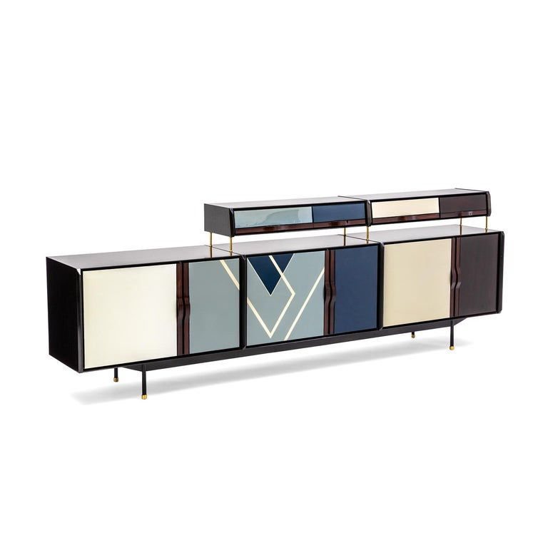 Modern Baxter Danished inspired Credenza in Rosewood with Resin Facade by Draga For Sale