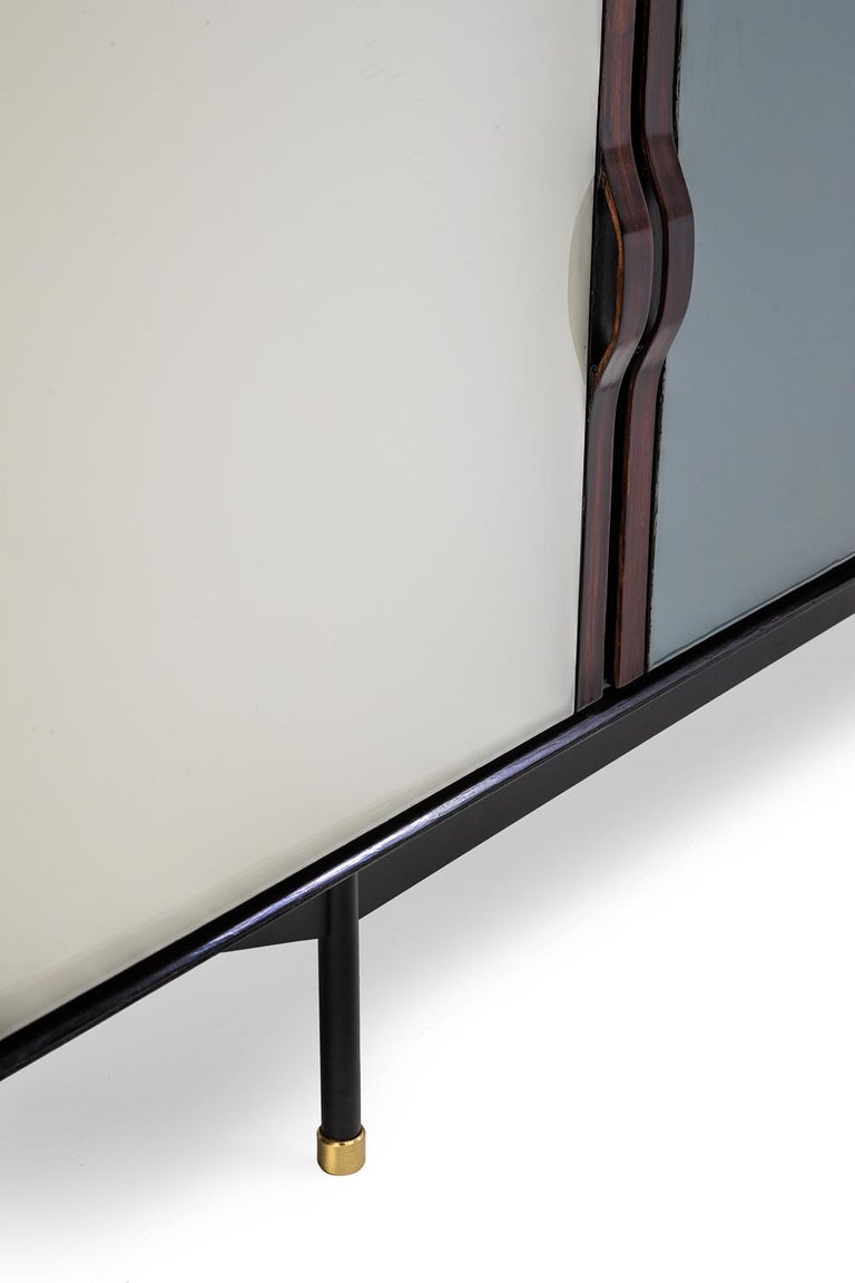 Hand-Crafted Baxter Danished inspired Credenza in Rosewood with Resin Facade by Draga For Sale