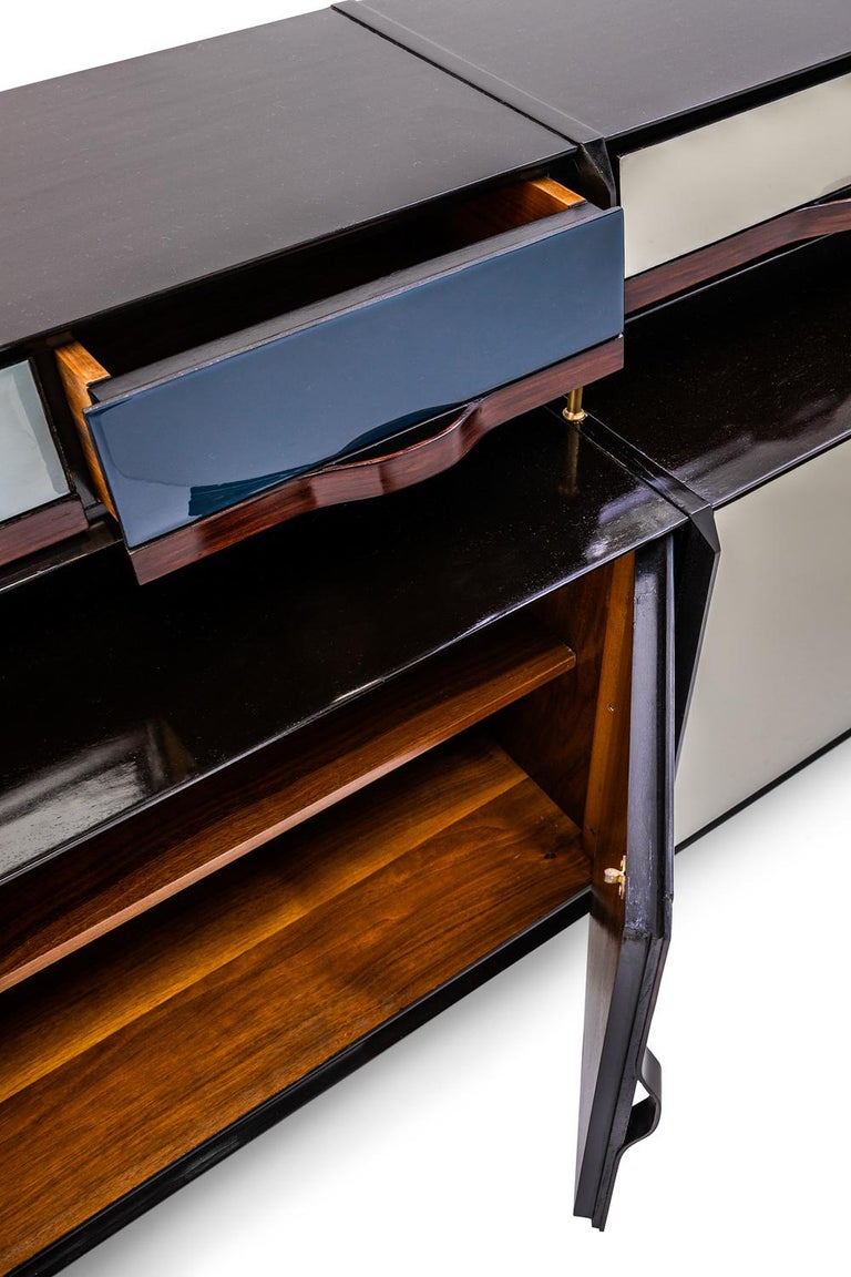 Wood Baxter Danished inspired Credenza in Rosewood with Resin Facade by Draga For Sale