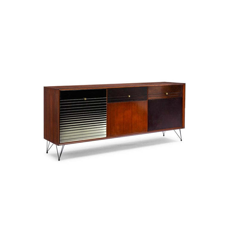 Baxter low cabinet no.6 in dark stained natural-oil finished solid Canaletto walnut refurbished vintage black to white resin gradation striped facade by Draga & Aurel.  Unique low cabinet - 188 W x 45 D x 84 H cm - refurbished vintage piece-